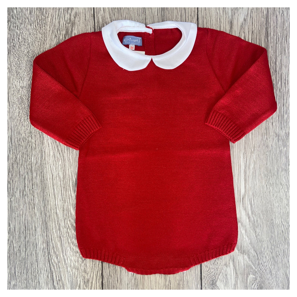 Aurea Peter Pan Collar Knitted Red Romper