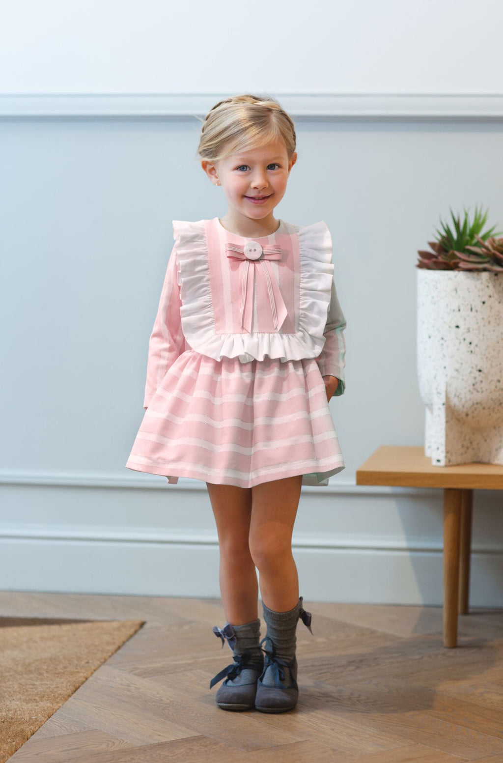 AW20 Rochy Girls Raya Lurex Pink & White Stripe Dress