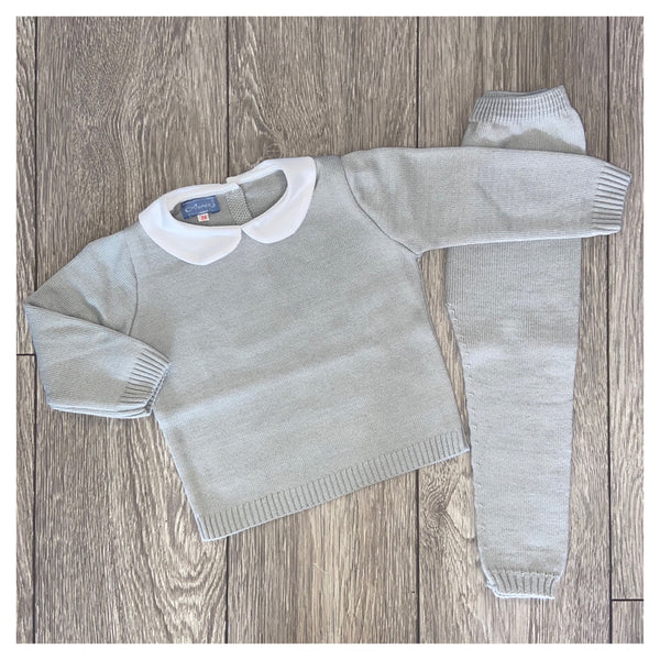Aurea Peter Pan Collar Boys Grey Knit Tracksuit