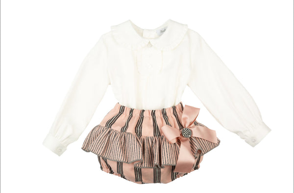 AW20 Rochy Baby Girls Raya Pink & Grey Stripe Jam Pants Set