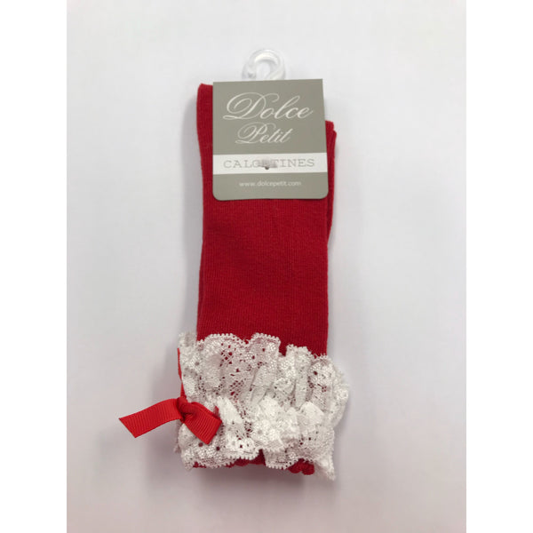 Dolce Petit Girls Red Bow & Lace Knee High Socks 2503-C
