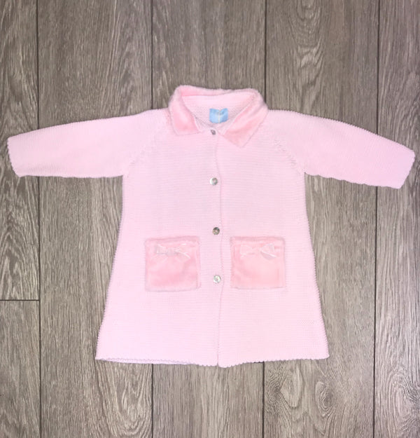 AW18 Floc Baby Girls Pink Knitted Pram Coat