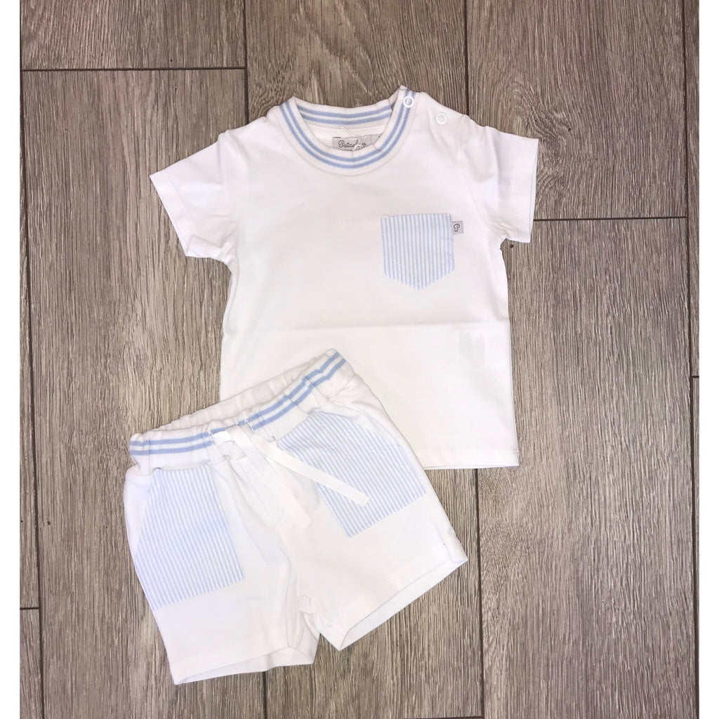 SS19 Patachou Boys Blue & White Stripe Jersey Shorts Set
