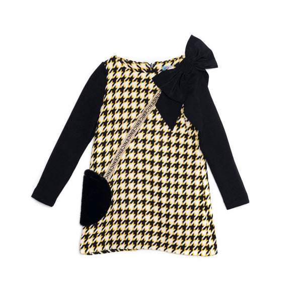 AW20 Rosalita Girls Nanita Black Dogtooth Dress