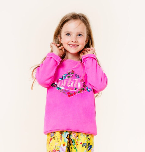 SS20 Oilily Girls Heritage Pink Beaded Sweater 34