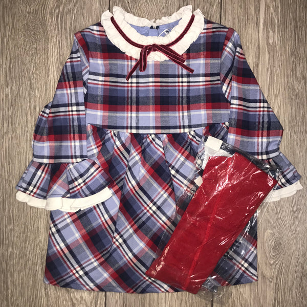 AW19 Tutto Piccolo Girls Navy & Red Check Dress & Tights Set 7241
