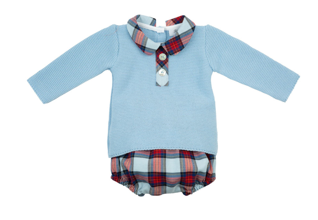 AW20 Rochy Baby Boys Check Cuadros Knitted Jam Pants Set