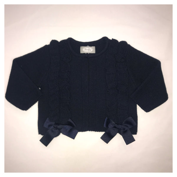 Rochy Girls Navy Bow Detail Cardigan