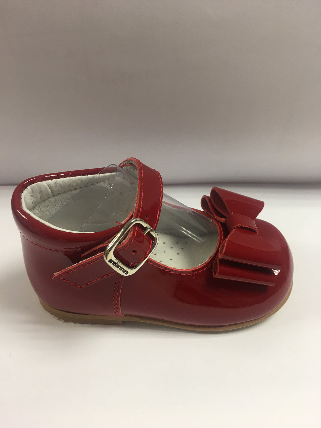 Andanines Girls Red Patent Mary Janes With Bow (higher back) - Liquorice Kids