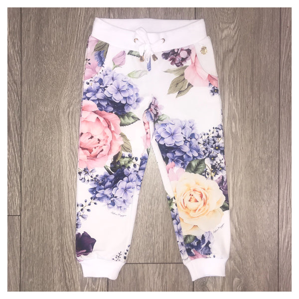 SS19 Stefania Girls Rose Print Tracksuit Bottoms