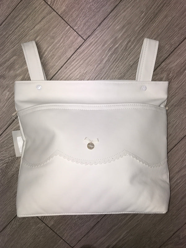 Uzturre Cream Frill Trim Leatherette Pram Bag