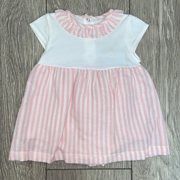 SS20 Laranjinha Baby Girls Pink & White Stripe Dress V0246