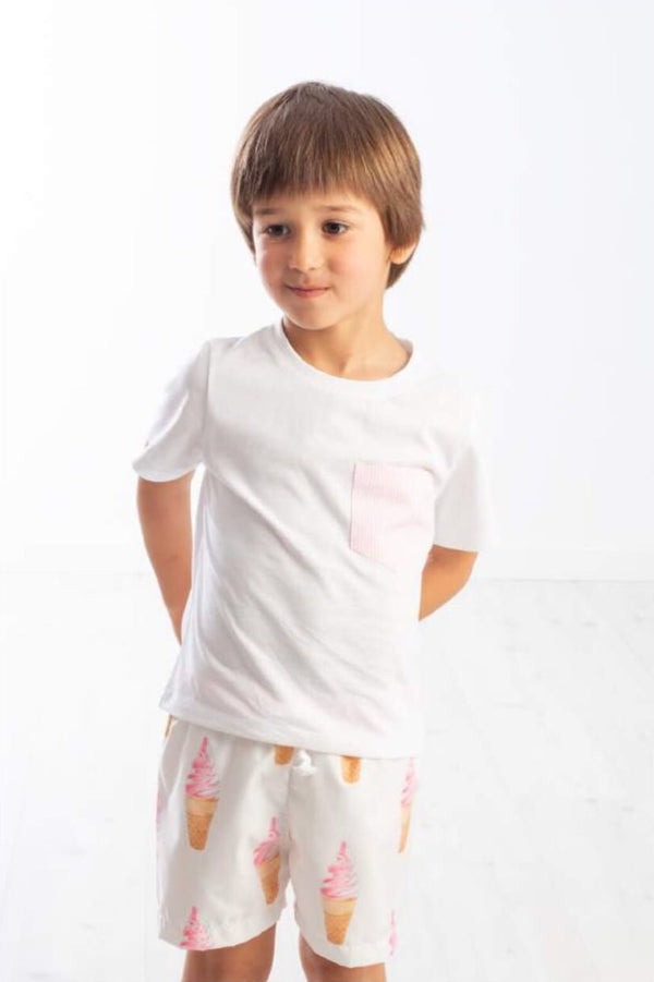 SS20 Meia Pata Boys Pink Stripe Pocket T-Shirt