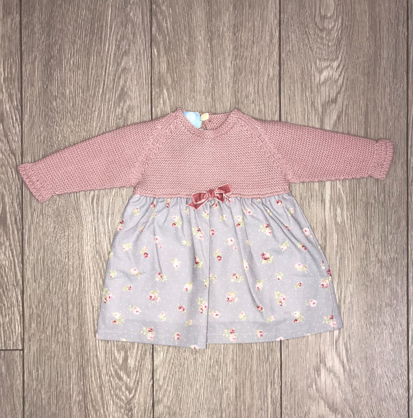 AW18 Floc Girls Grey & Dusky Pink Floral Dress