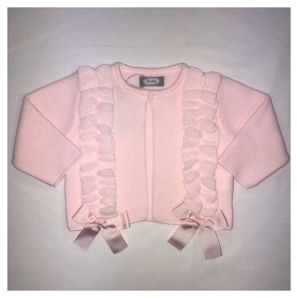 Rochy Girls Pink Bow Detail Cardigan