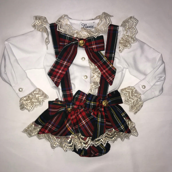 AW19 Naxos Baby Girls Tartan Jam Pants Set