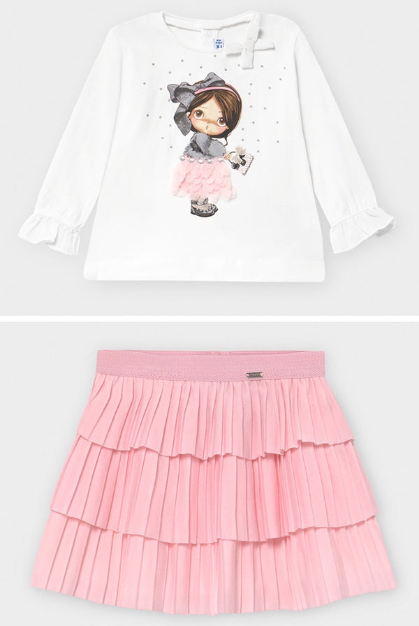 AW20 Mayoral Toddler Girls Pink Doll Skirt Set 2054 & 2940