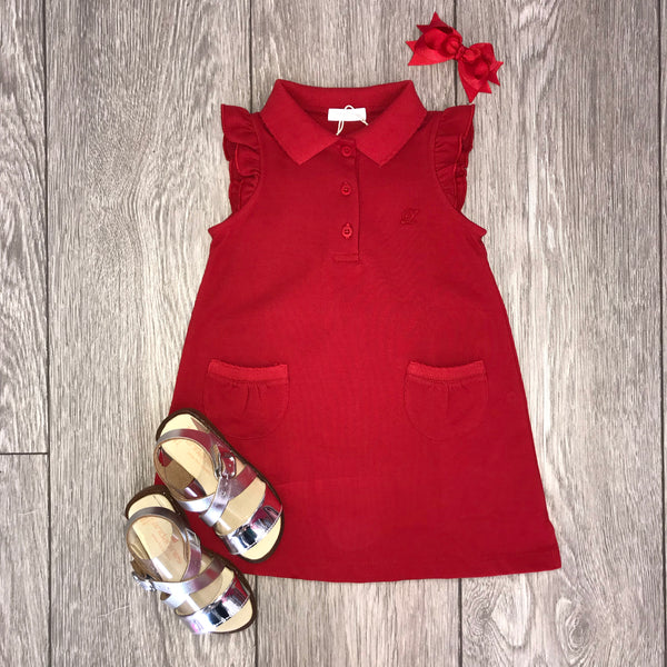 SS19 Laranjinha Girls Red Polo Dress V9548
