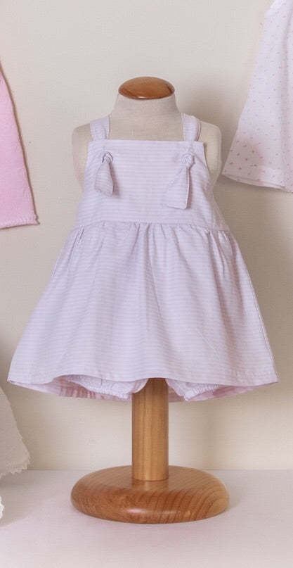 SS19 Floc Baby Girls Pink & White Stripe Dress