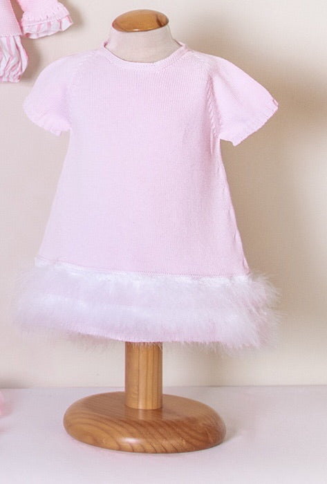 SS19 Floc Baby Girls Pink & White Feather Dress