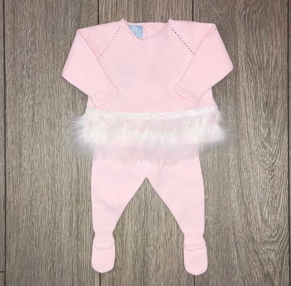SS19 Floc Baby Girls Pink Knitted Feather Set