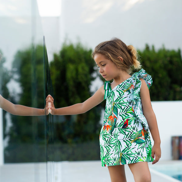 SS19 Tutto Piccolo Girls Tropical Print Dress 6246