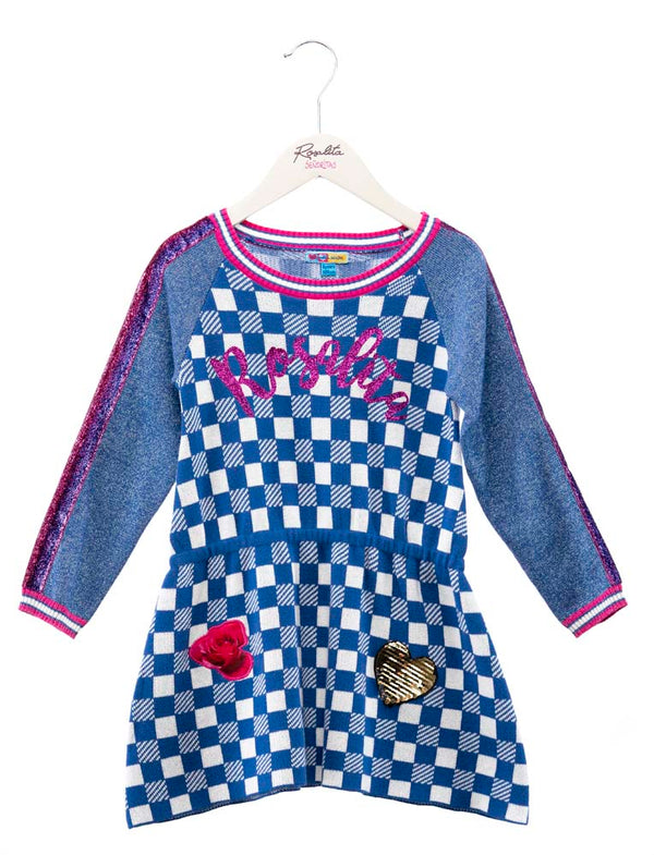 AW19 Rosalita Girls Kriens Blue & White Check Dress