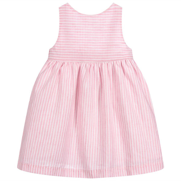 SS19 Laranjinha Girls Pink & White Stripe Bow Dress V9500