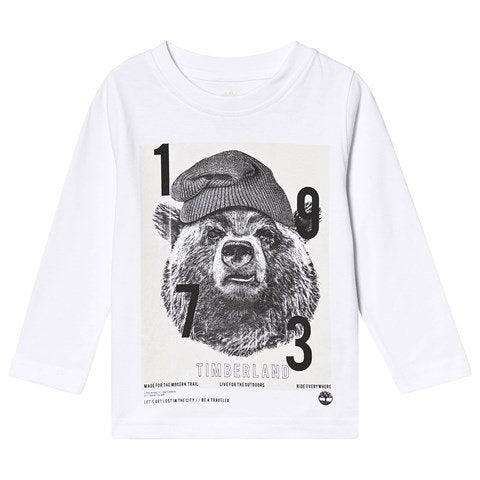 AW19 Timberland Boys White Bear Long Sleeved Top