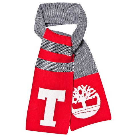 AW19 Timberland Boys Knitted Navy & Red Scarf