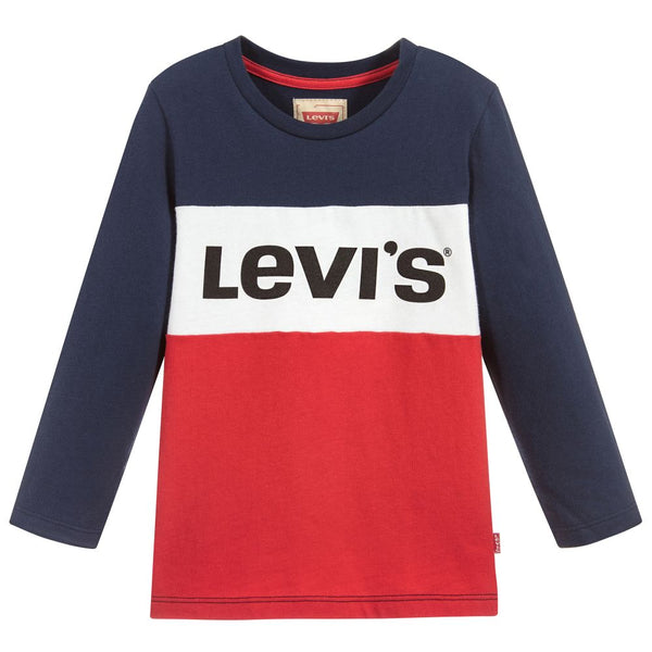AW18 Levi's Boys Red, White & Blue Logo Block Top