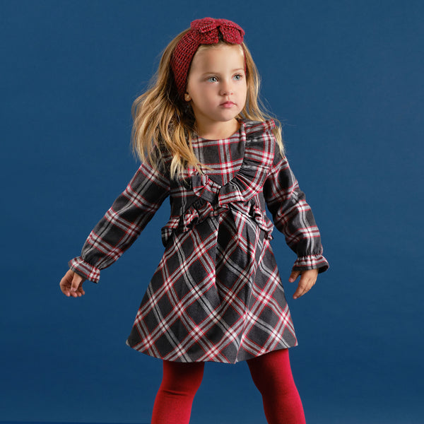 AW20 Tutto Piccolo Girls Dark Grey & Red Check Dress & Tights Set