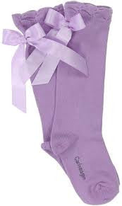 Carlomagno Lilac Single Bow Knee High Socks - Liquorice Kids