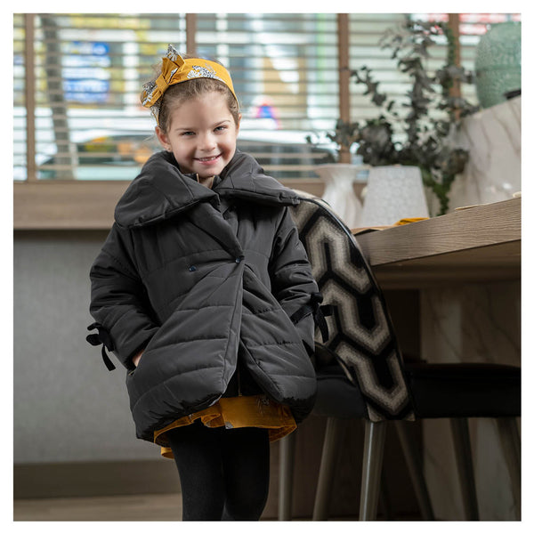 AW20 Tutto Piccolo Girls Black Bow Coat 9527