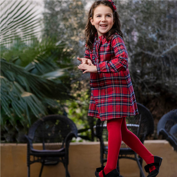 AW20 Tutto Piccolo Girls Red Tartan Dress & Tights Set 9236