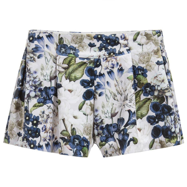 AW18 Mayoral Girls Velvet Navy Blue & Beige Floral Shorts 4200