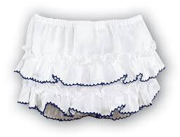 Sarah Louise 762 White Frilly Ruffled Knickers with Navy Trim