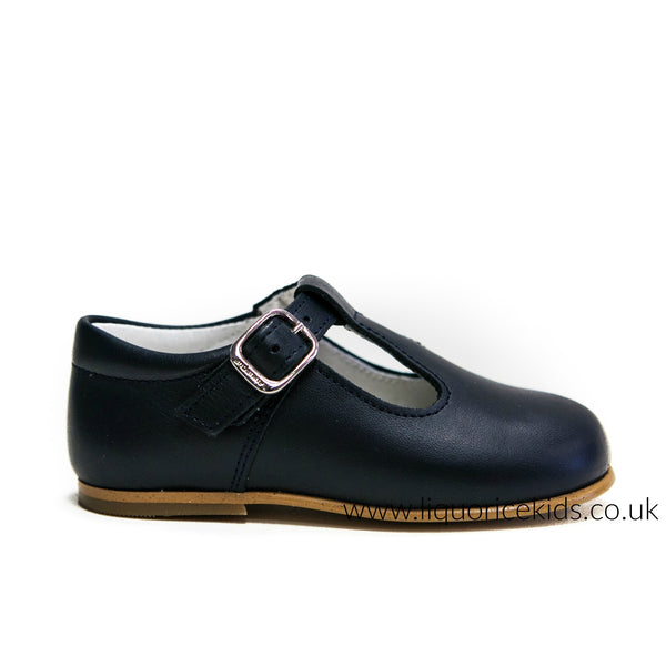 Andanines Boys Leather Navy T-Bar Shoe - Liquorice Kids