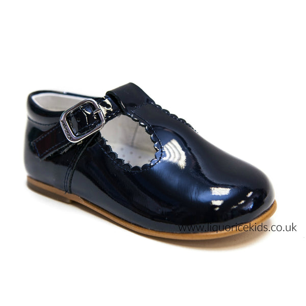 Andanines Patent Leather Navy T-Bar with Scallop Edging