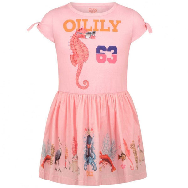 SS19 Oilily Girls Dabra Short Sleeve Dress 30 Pink With Woven Skirt