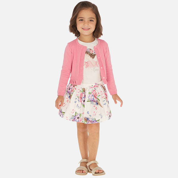 SS20 Mayoral Girls 'Love' Butterfly & Flowers Skirt Set 3963