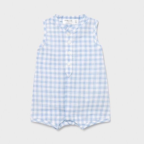 SS21 Mayoral Baby Boys Blue & White Check Romper 1621