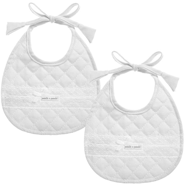 Pasito a Pasito Pale Grey Quilted Lace and Ribbon Bibs