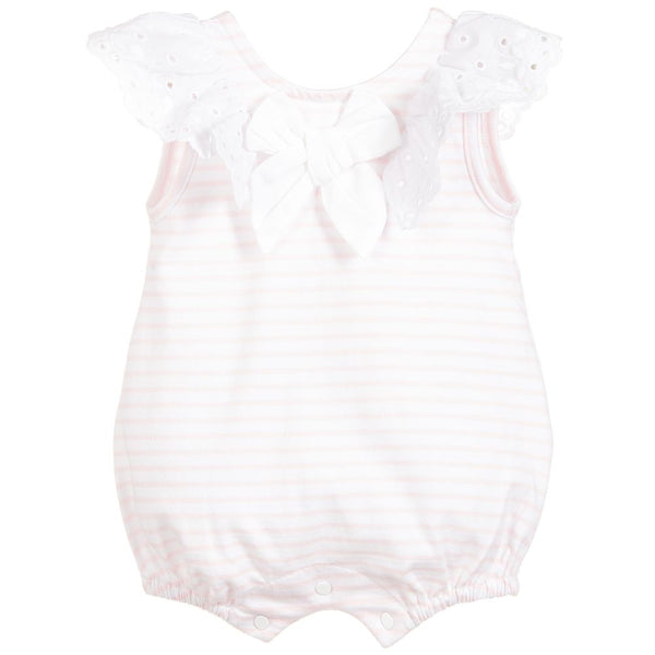 SS19 Patachou Baby Girls Pink & White Stripe Frill Romper