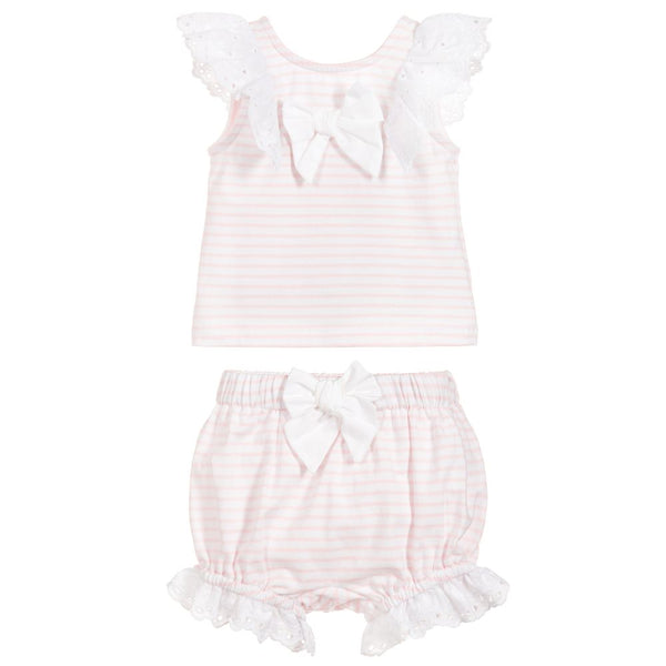 SS19 Patachou Baby Girls Pink & White Stripe Shorts Set