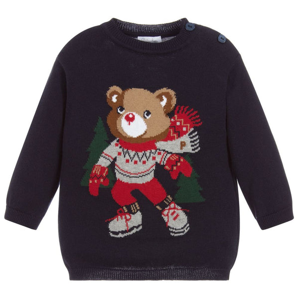 AW20 Patachou Girls Navy Blue Knitted Christmas Teddy Jumper