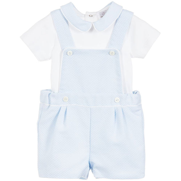 SS19 Patachou Baby Boys Blue & White Dungaree Set