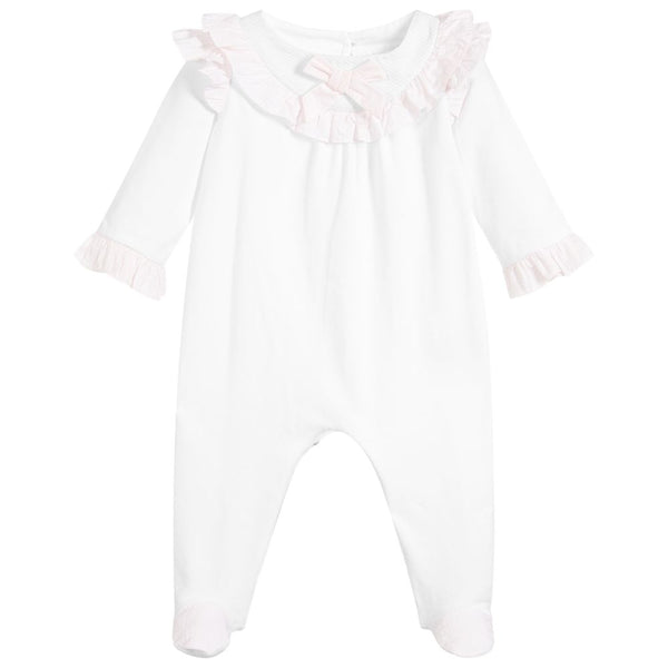 SS19 Patachou Baby Girls White & Pink Bow Babygrow