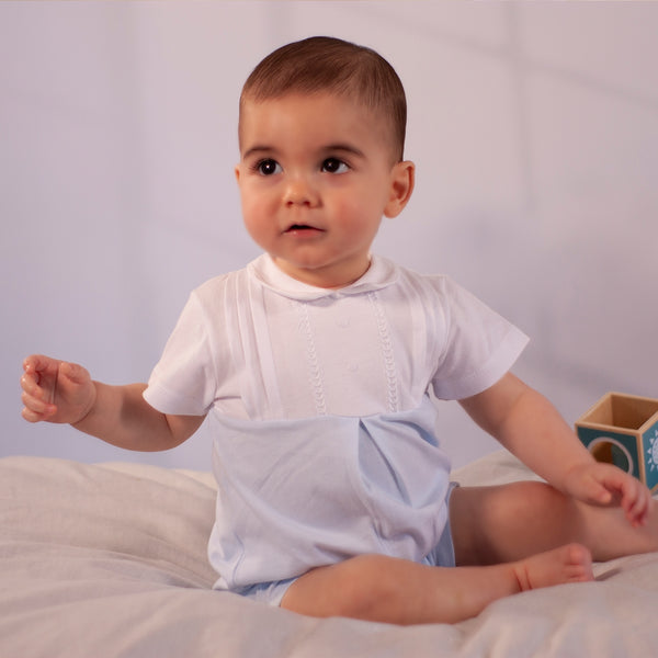 SS20 Tutto Piccolo Baby Boys Blue & White Romper 8281
