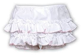Sarah Louise 762 White Frilly Ruffled Knickers with Pale Pink Trim